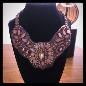 Vintage Rose pink bib statement necklace